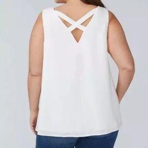 Lane Bryant sleeveless criss cross back blouse